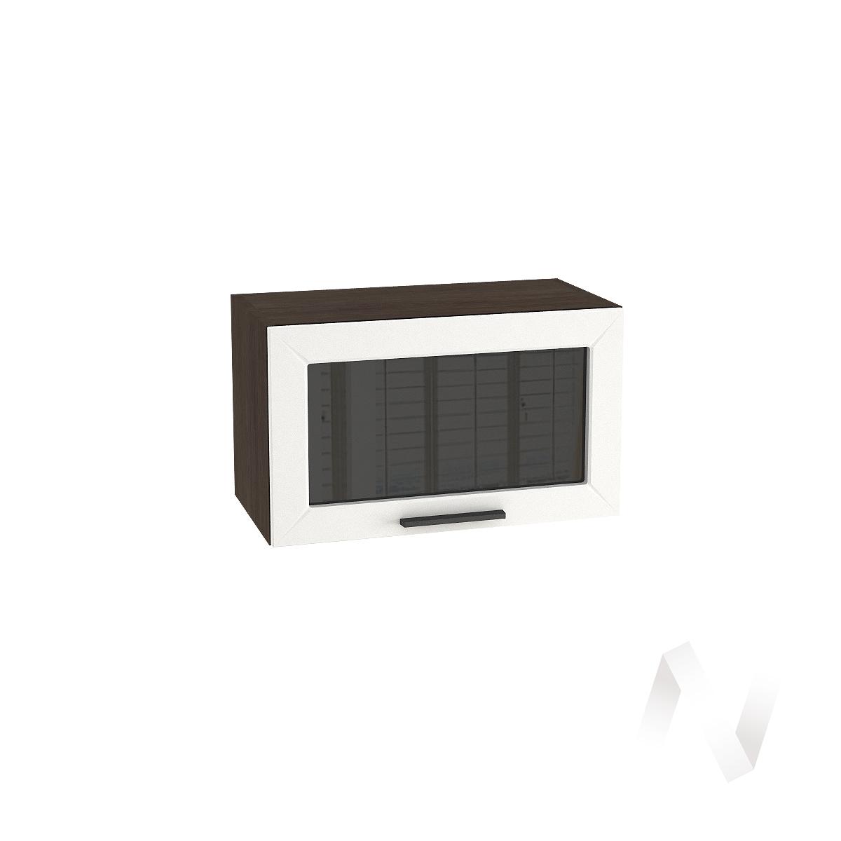 """Кухня """"Глетчер"""": Шкаф верхний горизонтальный со стеклом 600, ШВГС 600 (Айленд силк/корпус венге)"""