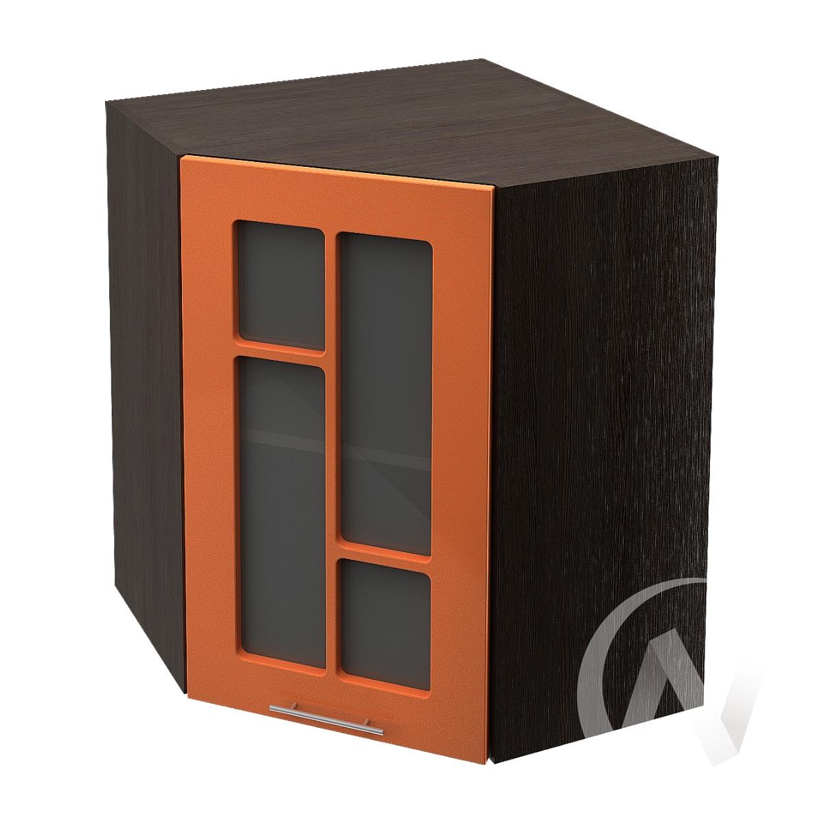 """Купить кухня """"техно"""": шкаф верхний угловой со стеклом 590, швус 590 (корпус венге) в Новосибирске в интернет-магазине Мебель плюс Техника"""
