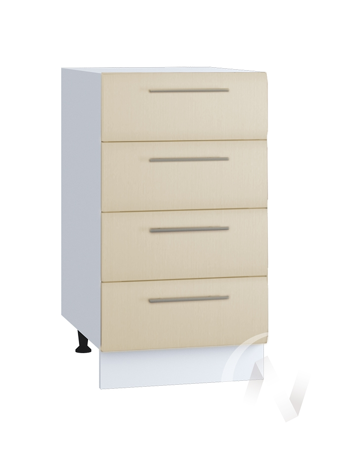 "Кухня ""Люкс"": Шкаф нижний с 4-мя ящиками 400, ШН4Я 400 (Шелк жемчуг/корпус белый)"