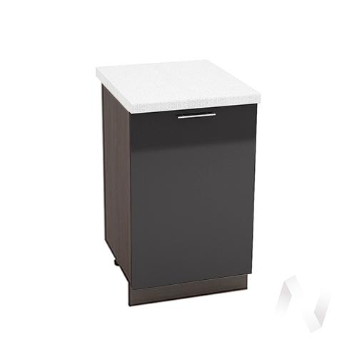 """Кухня """"Валерия-М"""": Шкаф нижний 500, ШН 500 (черный металлик/корпус венге)"""