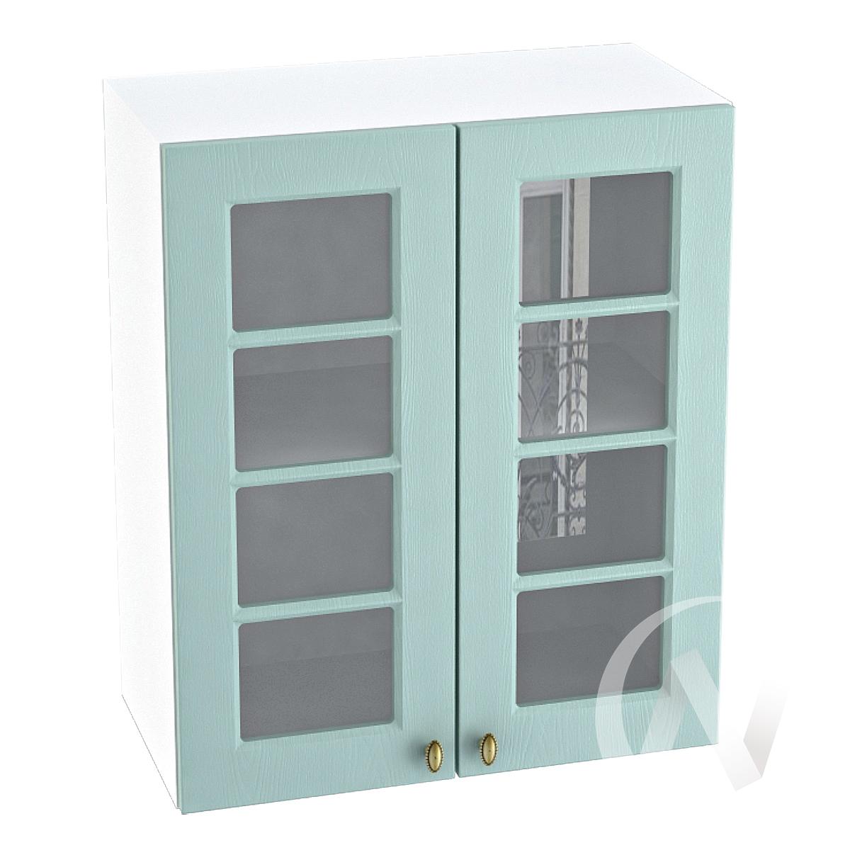 "Кухня ""Прованс"": Шкаф верхний со стеклом 600, ШВС 600 (голубой/корпус белый)"