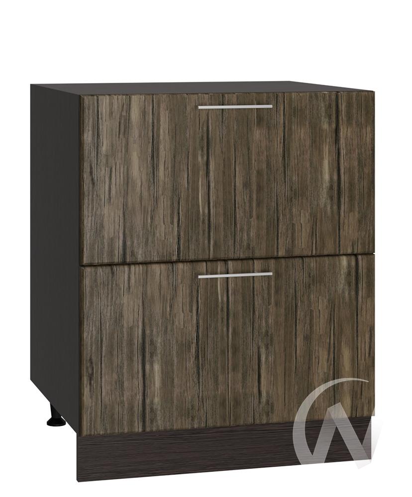 """Кухня """"Норден"""": Шкаф нижний с 2-мя ящиками 600, ШН2Я 600 (старое дерево/корпус венге)"""