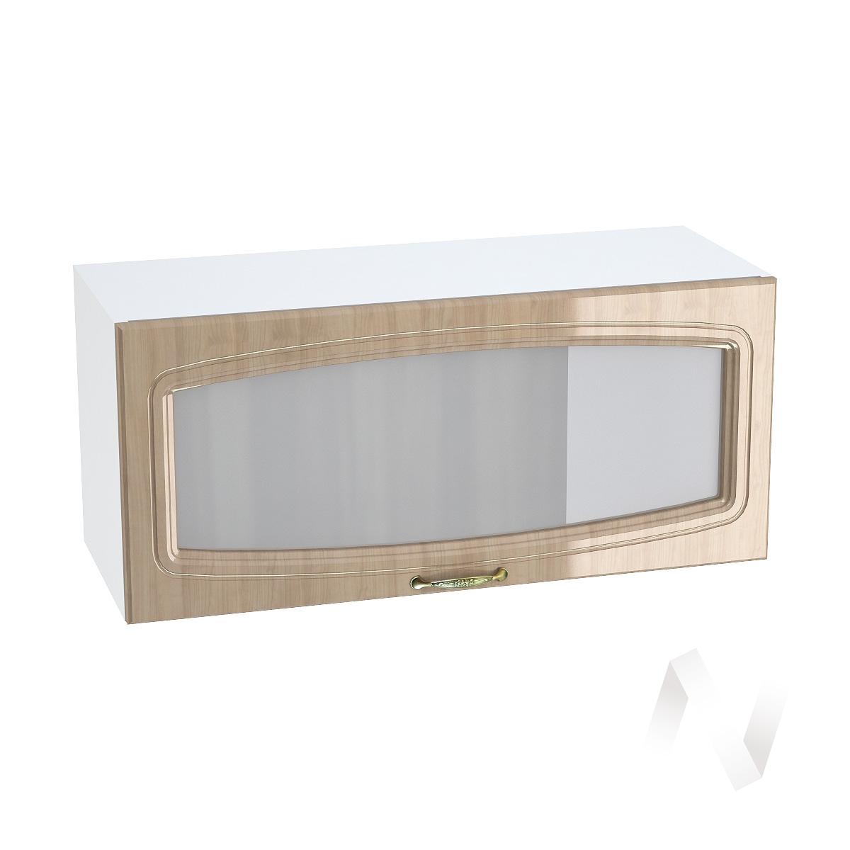 """Кухня """"Сити"""": Шкаф верхний горизонтальный со стеклом 800, ШВГС 800 (корпус белый)"""