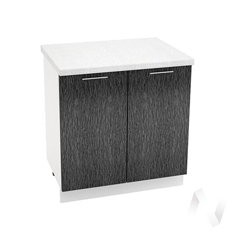 "Кухня ""Валерия-М"": Шкаф нижний 800, ШН 800 (дождь черный/корпус белый)"