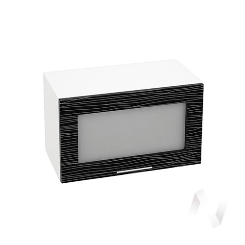 """Кухня """"Валерия-М"""": Шкаф верхний горизонтальный со стеклом 600, ШВГС 600 (Страйп черный/корпус белый)"""