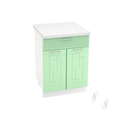 """Кухня """"Вега"""": Шкаф нижний с ящиком 600, ШН1Я 600 М (салатовый металлик/корпус белый)"""
