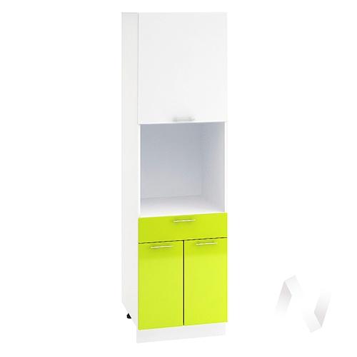 "Кухня ""Валерия-М"": Шкаф пенал с ящиком 600, ШП1Я 600 (белый глянец/лайм глянец/корпус белый)"