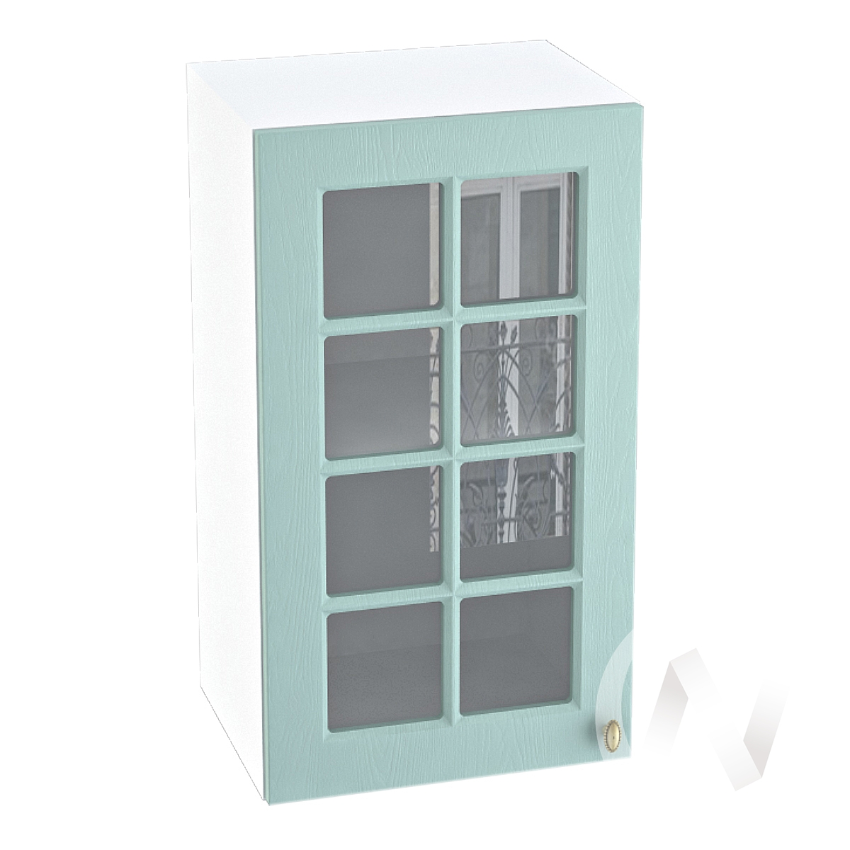 "Кухня ""Прованс"": Шкаф верхний со стеклом 400, ШВС 400 (голубой/корпус белый)"