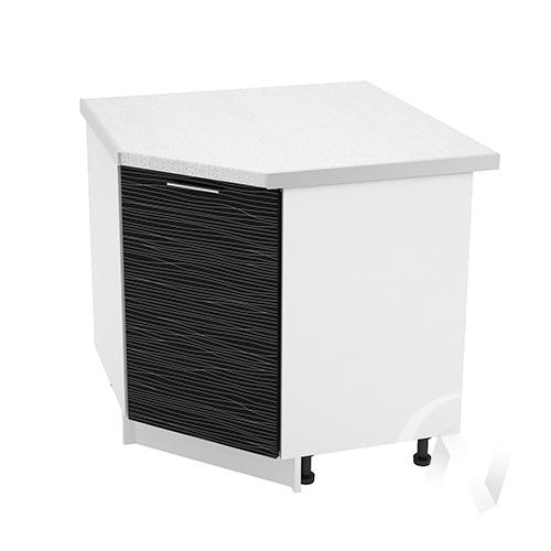 """Кухня """"Валерия-М"""": Шкаф нижний угловой 890, ШНУ 890 (Страйп черный/корпус белый)"""