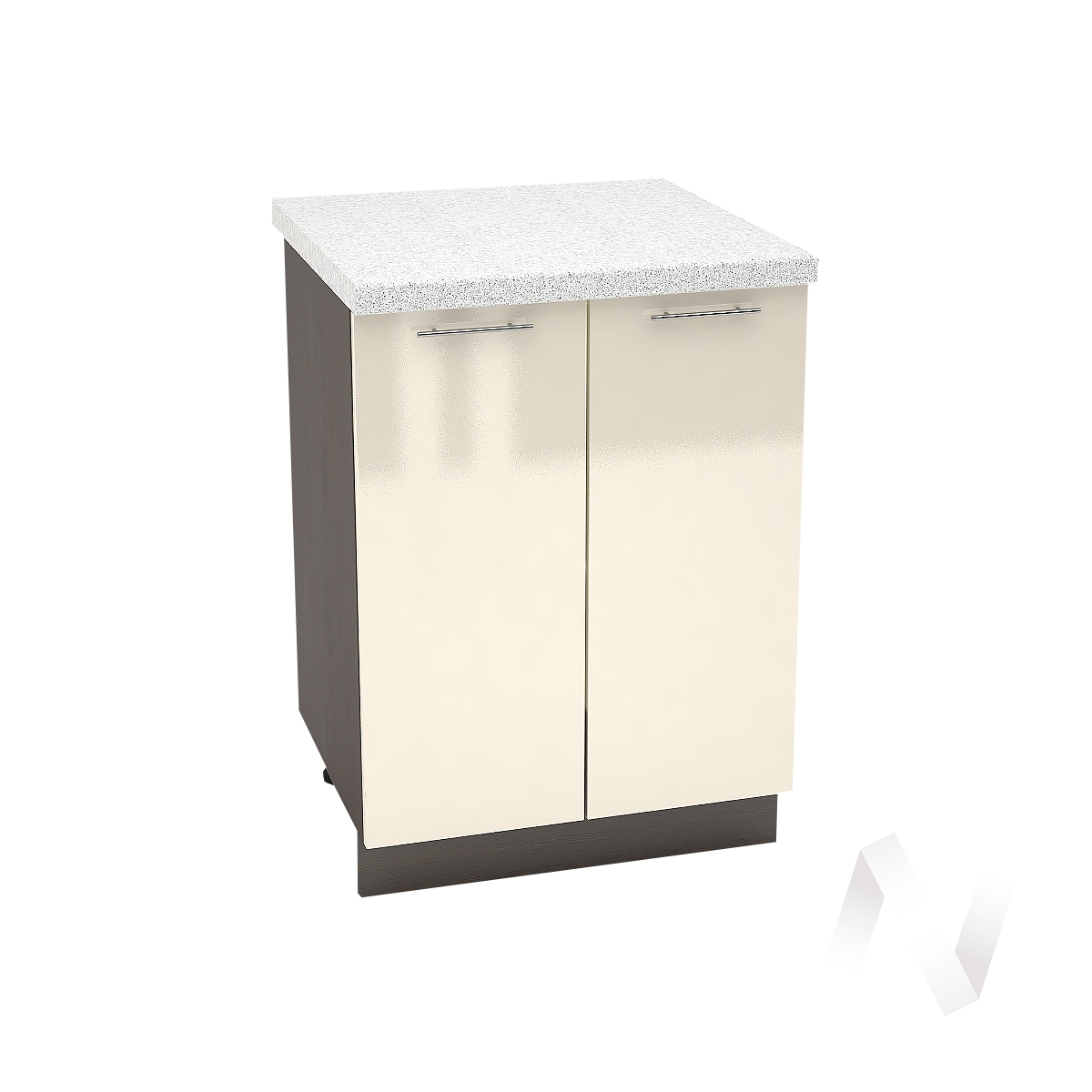 "Кухня ""Валерия-М"": Шкаф нижний 600, ШН 600 (Ваниль глянец/корпус венге)"