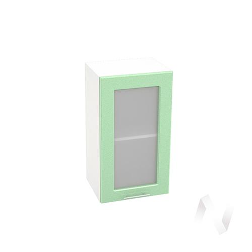 """Кухня """"Вега"""": Шкаф верхний со стеклом 400, ШВС 400 (салатовый металлик/корпус белый)"""