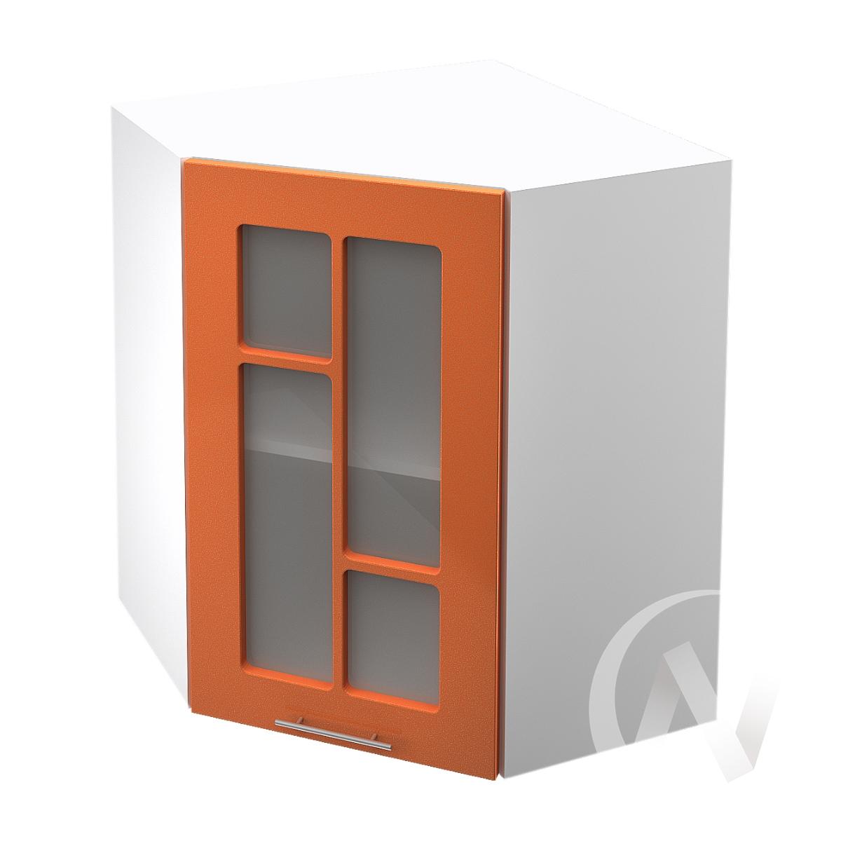 """Кухня """"Техно"""": Шкаф верхний угловой со стеклом 590, ШВУС 590 (корпус белый)"""
