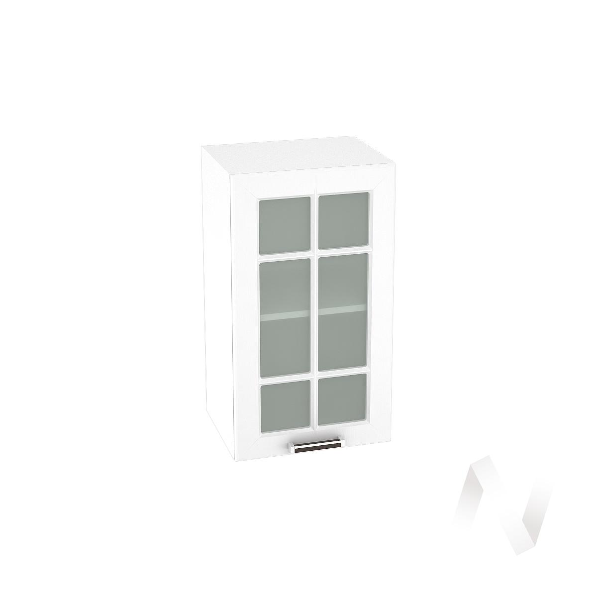 """Кухня """"Прага"""": Шкаф верхний со стеклом 400, ШВС 400 (белое дерево/корпус белый)"""
