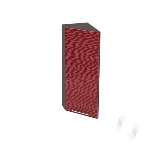"""Кухня """"Валерия-М"""": Шкаф верхний торцевой 224, ШВТ 224 (Страйп красный/корпус венге)"""