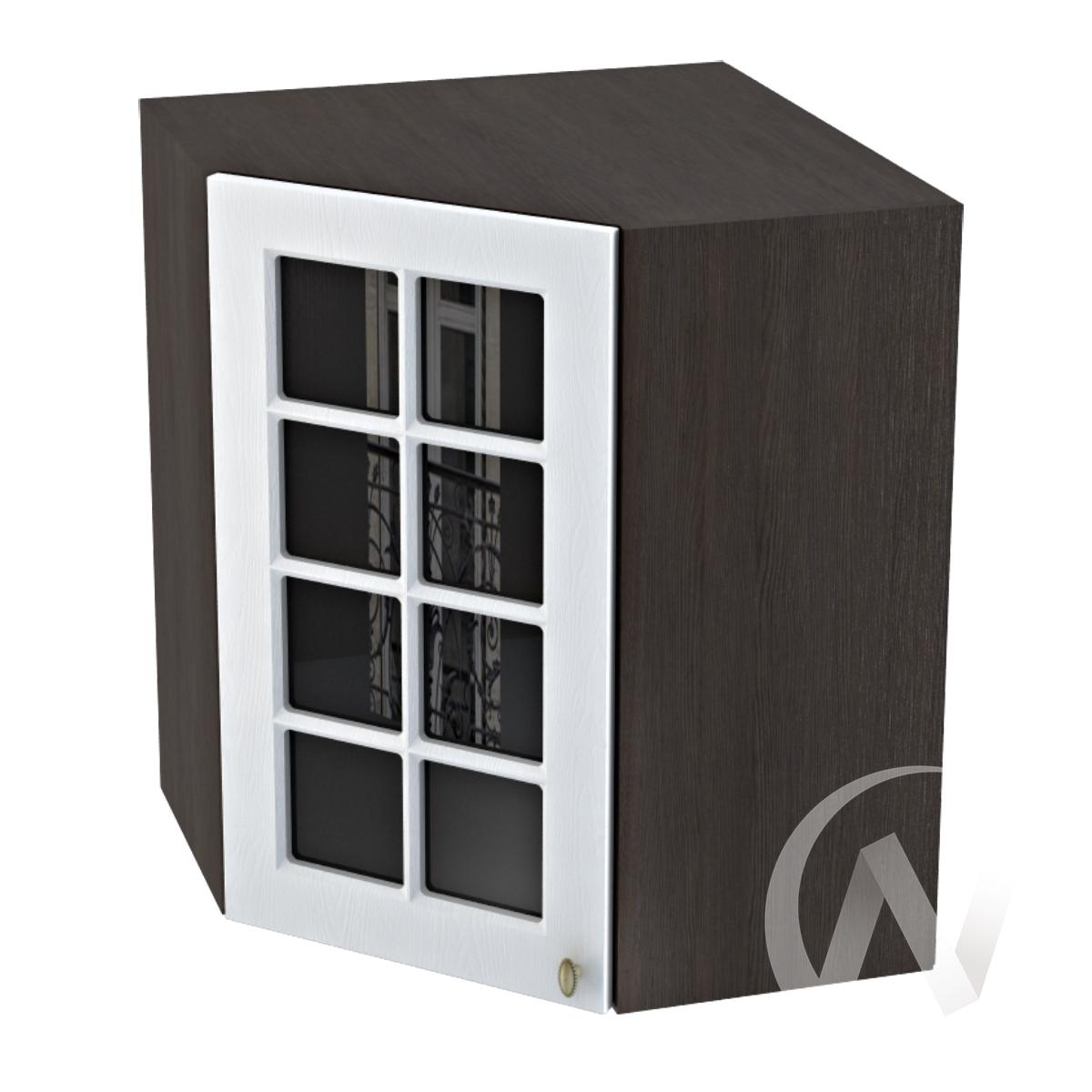 """Кухня """"Прованс"""": Шкаф верхний угловой со стеклом 590, ШВУС 590 (белое дерево/корпус венге)"""
