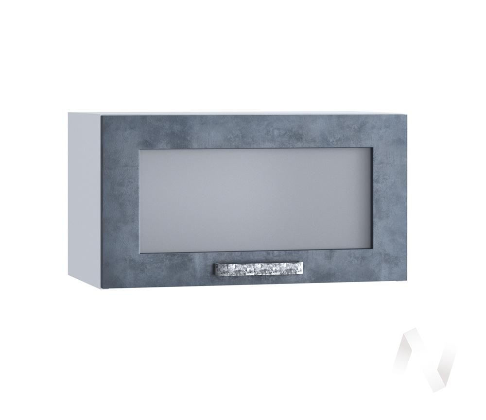 """Кухня """"Лофт"""": Шкаф верхний горизонтальный со стеклом 600, ШВГС 600 (Бетон графит/корпус белый)"""