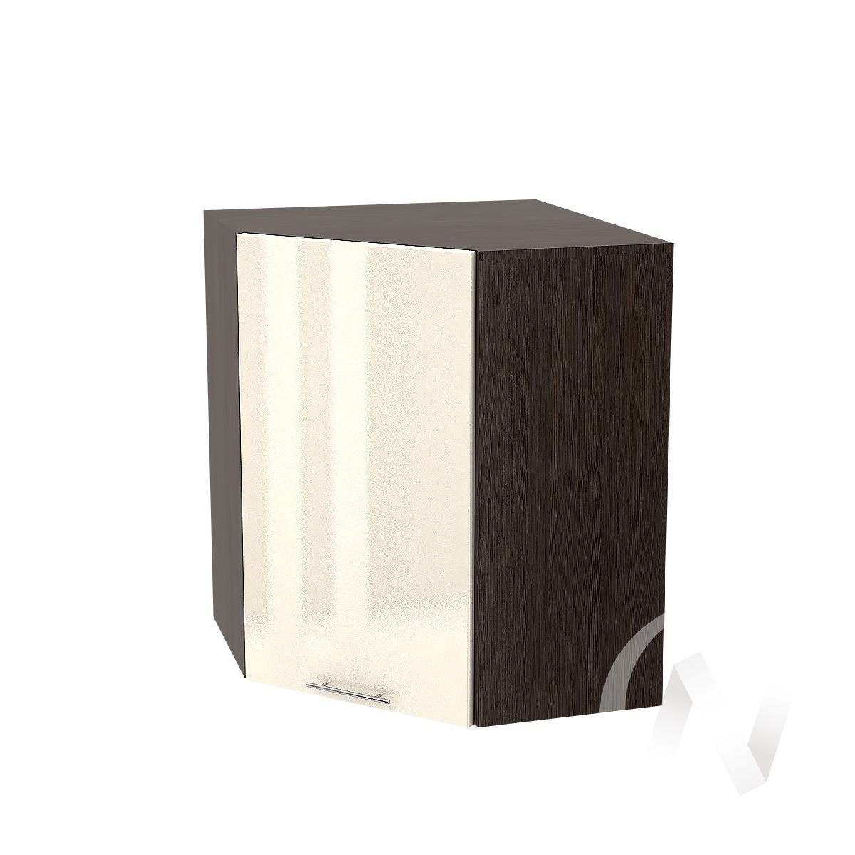 """Кухня """"Валерия-М"""": Шкаф верхний угловой 590, ШВУ 590 (Ваниль глянец/корпус венге)"""