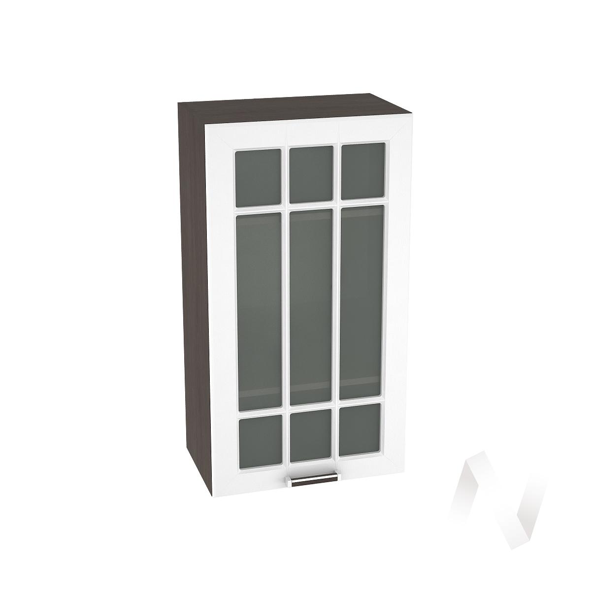 """Кухня """"Прага"""": Шкаф верхний со стеклом 509, ШВС 509 (белое дерево/корпус венге)"""