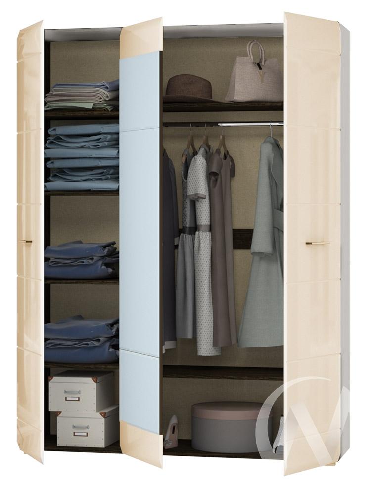 Шкаф 3-х створчатый Николь МДФ (ясень шимо светлый/кофе с молоком) недорого в Томске — интернет-магазин авторской мебели Экостиль