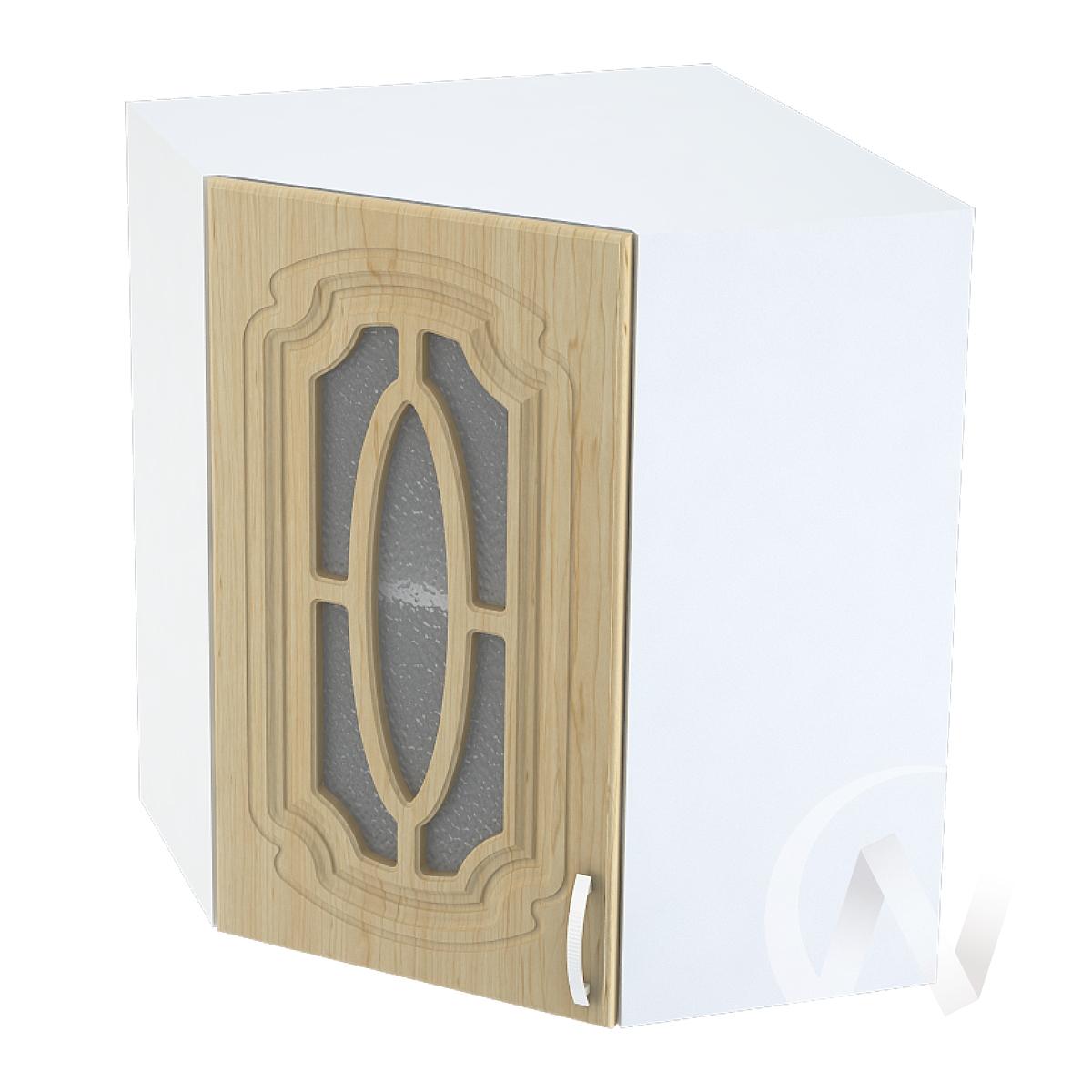 """Кухня """"Настя"""": Шкаф верхний угловой со стеклом 590, ШВУС 590 (Береза/корпус белый)"""