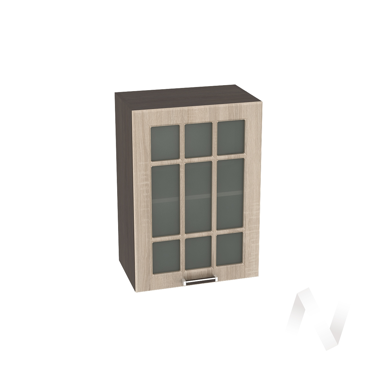 "Кухня ""Прага"": Шкаф верхний со стеклом 500, ШВС 500 (дуб сонома/корпус венге)"