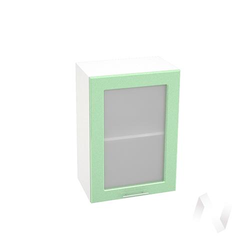 """Кухня """"Вега"""": Шкаф верхний со стеклом 500, ШВС 500 (салатовый металлик/корпус белый)"""