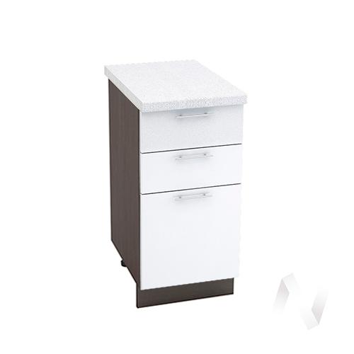 """Кухня """"Валерия-М"""": Шкаф нижний с 3-мя ящиками 400, ШН3Я 400 (белый металлик/корпус венге)"""
