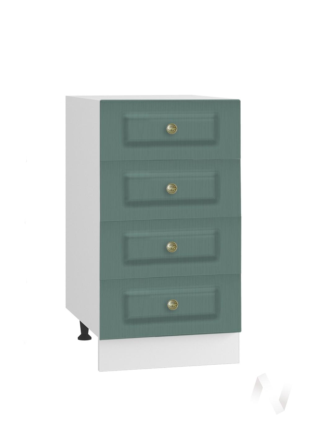 """Кухня """"Селена"""": Шкаф нижний с 4-мя ящиками 400, ШН4Я 400 (Дуб бирюзовый/корпус белый)"""