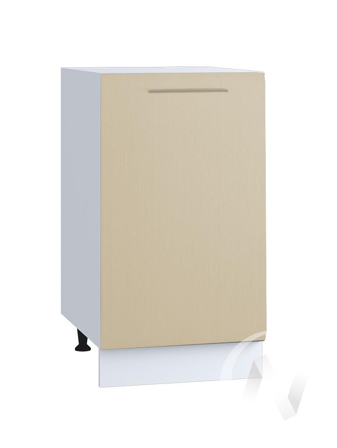 "Кухня ""Люкс"": Шкаф нижний 400, ШН 400 (Шелк жемчуг/корпус белый)"