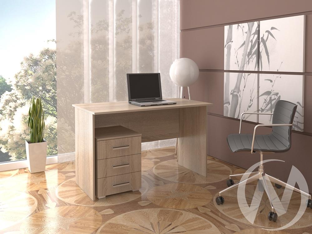 Стол офисный с тумбой (дуб сонома)  в Новосибирске - интернет магазин Мебельный Проспект