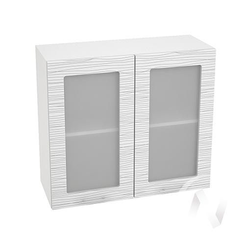 """Кухня """"Валерия-М"""": Шкаф верхний со стеклом 800, ШВС 800 (Страйп белый/корпус белый)"""