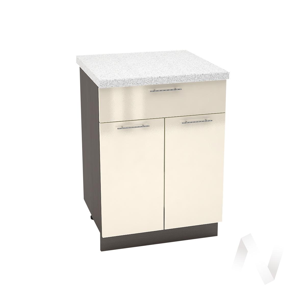 """Кухня """"Валерия-М"""": Шкаф нижний с ящиком 600, ШН1Я 600 М (Ваниль глянец/корпус венге)"""