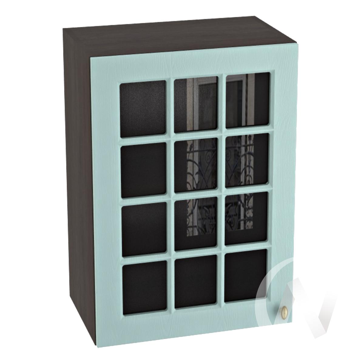 """Кухня """"Прованс"""": Шкаф верхний со стеклом 500, ШВС 500 (голубой/корпус венге)"""