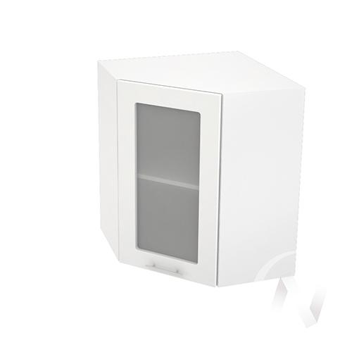 """Кухня """"Валерия-М"""": Шкаф верхний угловой со стеклом 590, ШВУС 590 (белый металлик/корпус белый)"""
