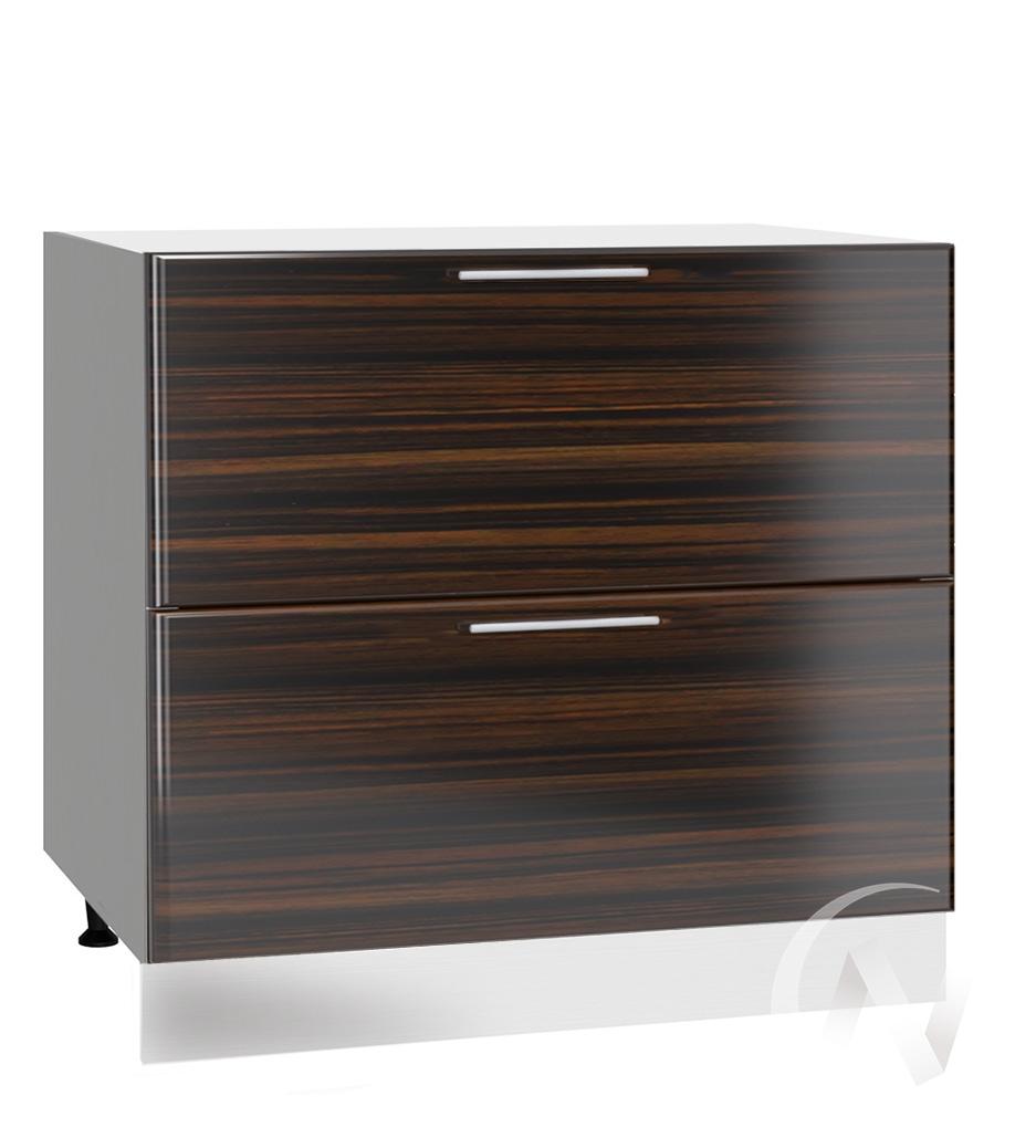 "Кухня ""Норден"": Шкаф нижний с 2-мя ящиками 800, ШН2Я 800 (эбен/корпус белый)"