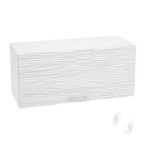 """Кухня """"Валерия-М"""": Шкаф верхний горизонтальный 800, ШВГ 800 (Страйп белый/корпус белый)"""