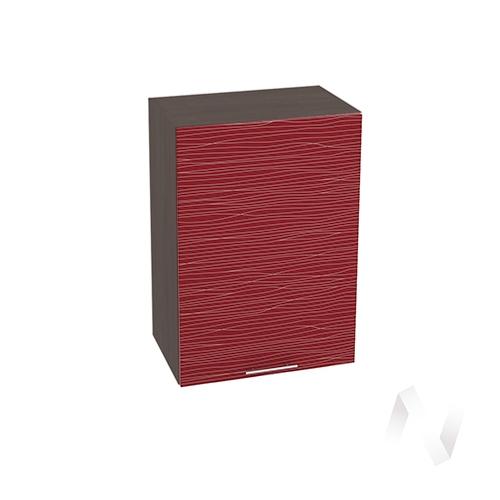 """Кухня """"Валерия-М"""": Шкаф верхний 500, ШВ 500 (Страйп красный/корпус венге)"""