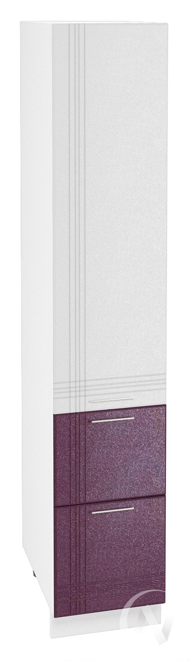 """Кухня """"Струна"""": Шкаф пенал с 2-мя ящиками 400, ШП2Я 400 (белый/фиолетовый металлик/корпус белый)"""