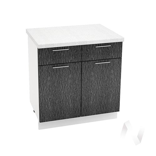 """Кухня """"Валерия-М"""": Шкаф нижний с ящиками 800, ШН1Я 800 (дождь черный/корпус белый)"""