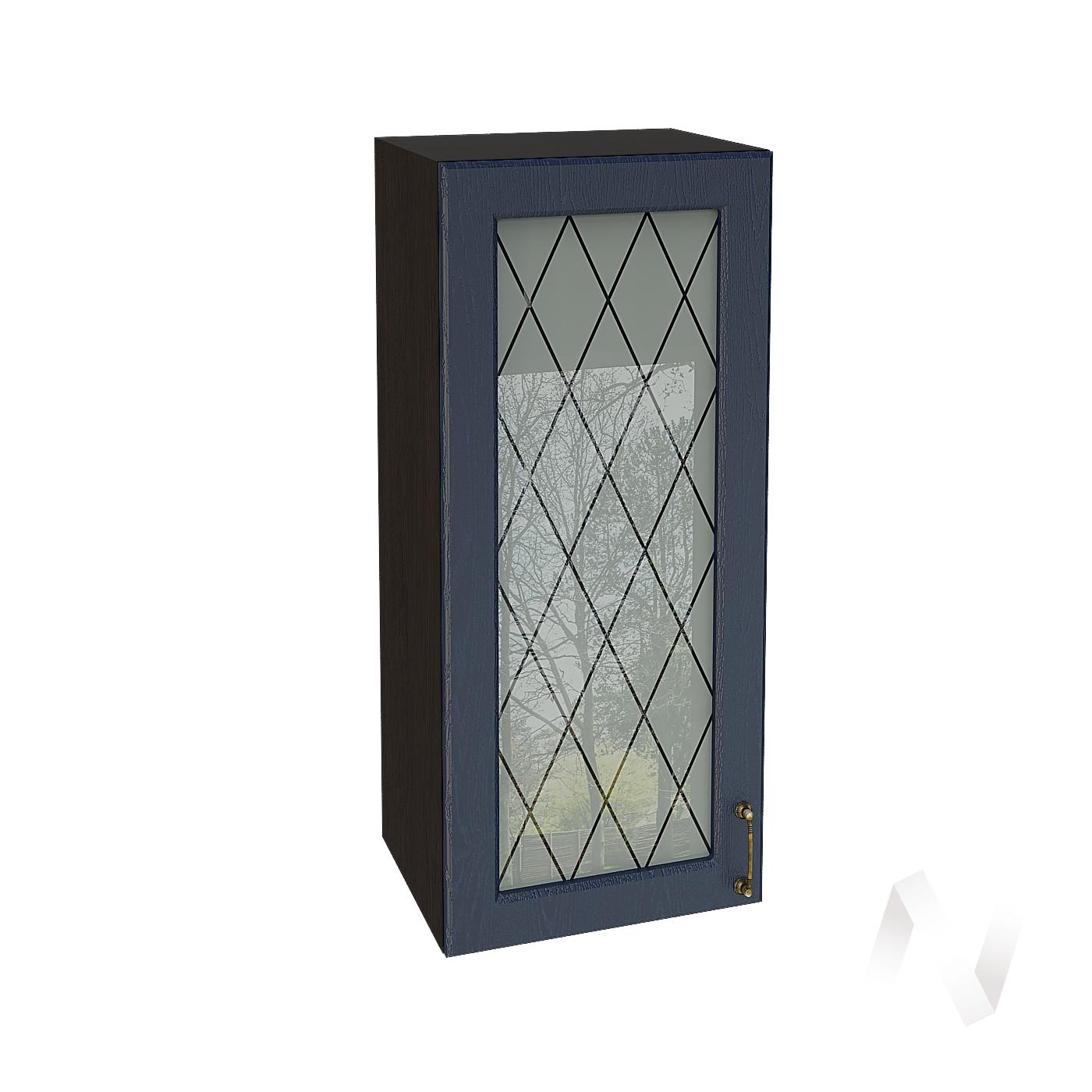 """Кухня """"Ницца"""": Шкаф верхний со стеклом 409, ШВС 409 (Дуб чернильный/корпус венге)"""