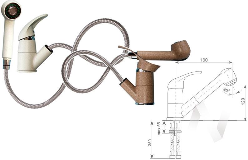 Смеситель керамический U-002 (белый 331)  в Томске — интернет магазин МИРА-мебель