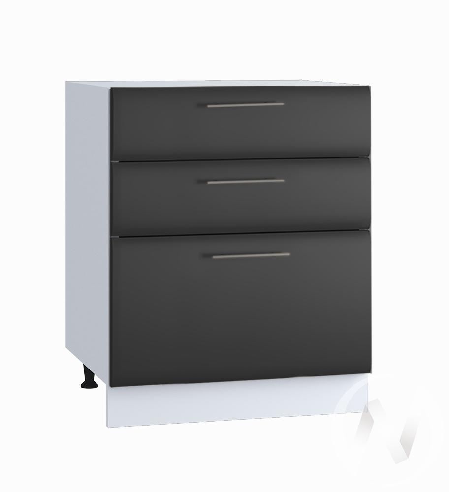 """Кухня """"Люкс"""": Шкаф нижний с 3-мя ящиками 600, ШН3Я 600 (Шелк венге/корпус белый)"""