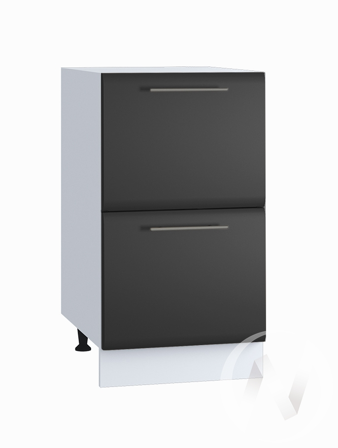 """Кухня """"Люкс"""": Шкаф нижний с 2-мя ящиками 400, ШН2Я 400 (Шелк венге/корпус белый)"""