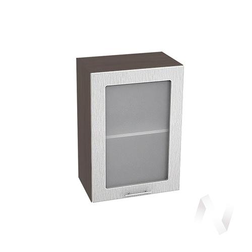 """Кухня """"Валерия-М"""": Шкаф верхний со стеклом 500, ШВС 500 (дождь серый/корпус венге)"""
