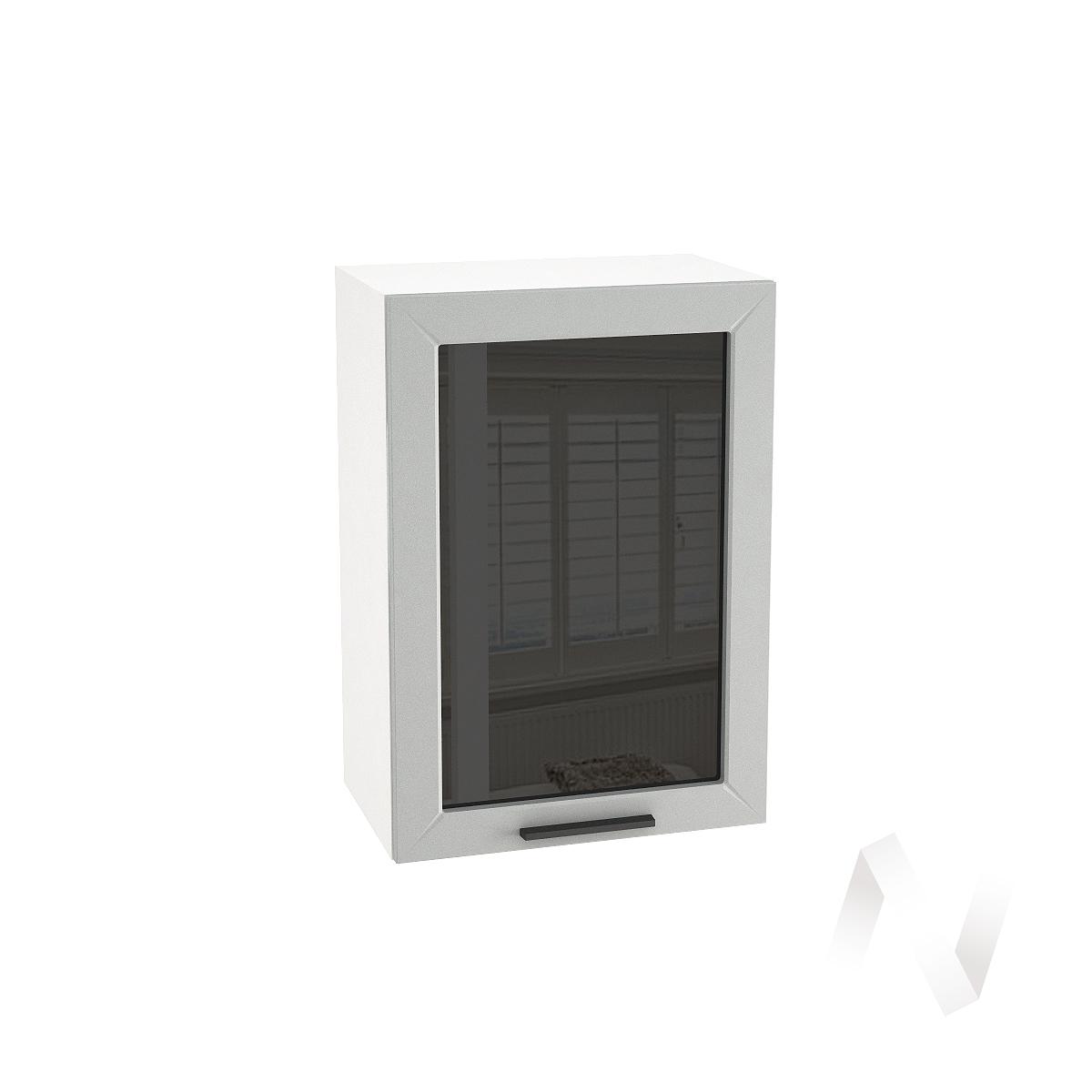 """Кухня """"Глетчер"""": Шкаф верхний со стеклом 500, ШВС 500 (Гейнсборо Силк/корпус белый)"""