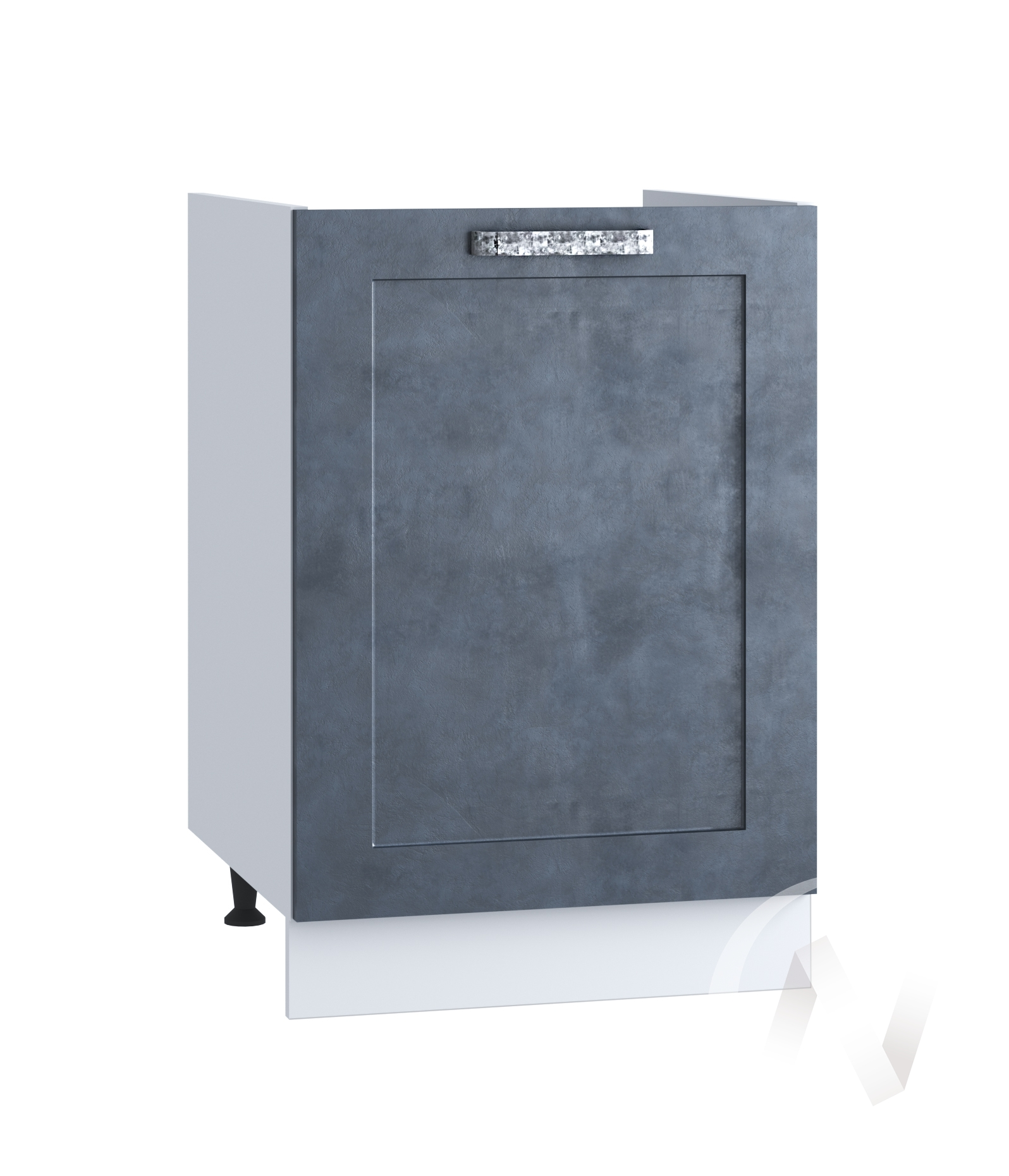"Кухня ""Лофт"": Шкаф нижний под мойку 500, ШНМ 500 (Бетон графит/корпус белый)"