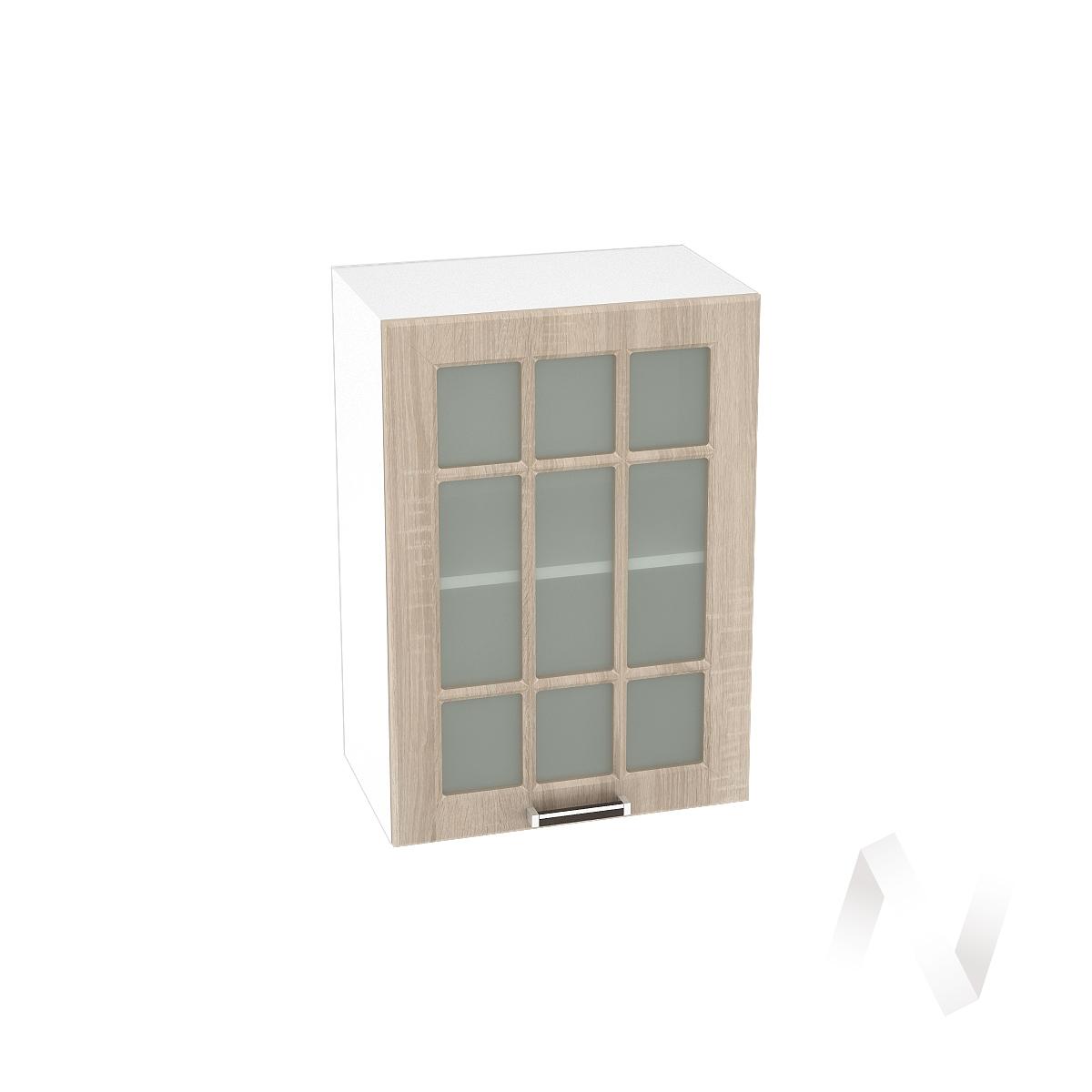 "Кухня ""Прага"": Шкаф верхний со стеклом 500, ШВС 500 (дуб сонома/корпус белый)"