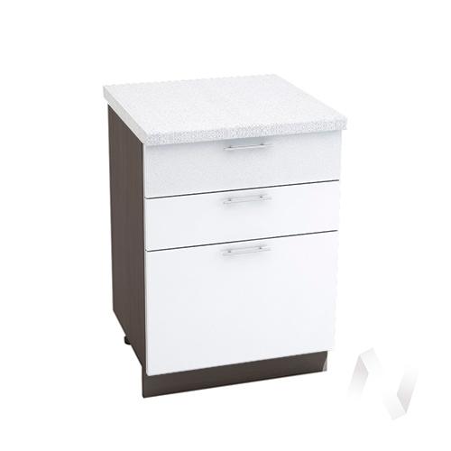 """Кухня """"Валерия-М"""": Шкаф нижний с 3-мя ящиками 600, ШН3Я 600 (белый металлик/корпус венге)"""