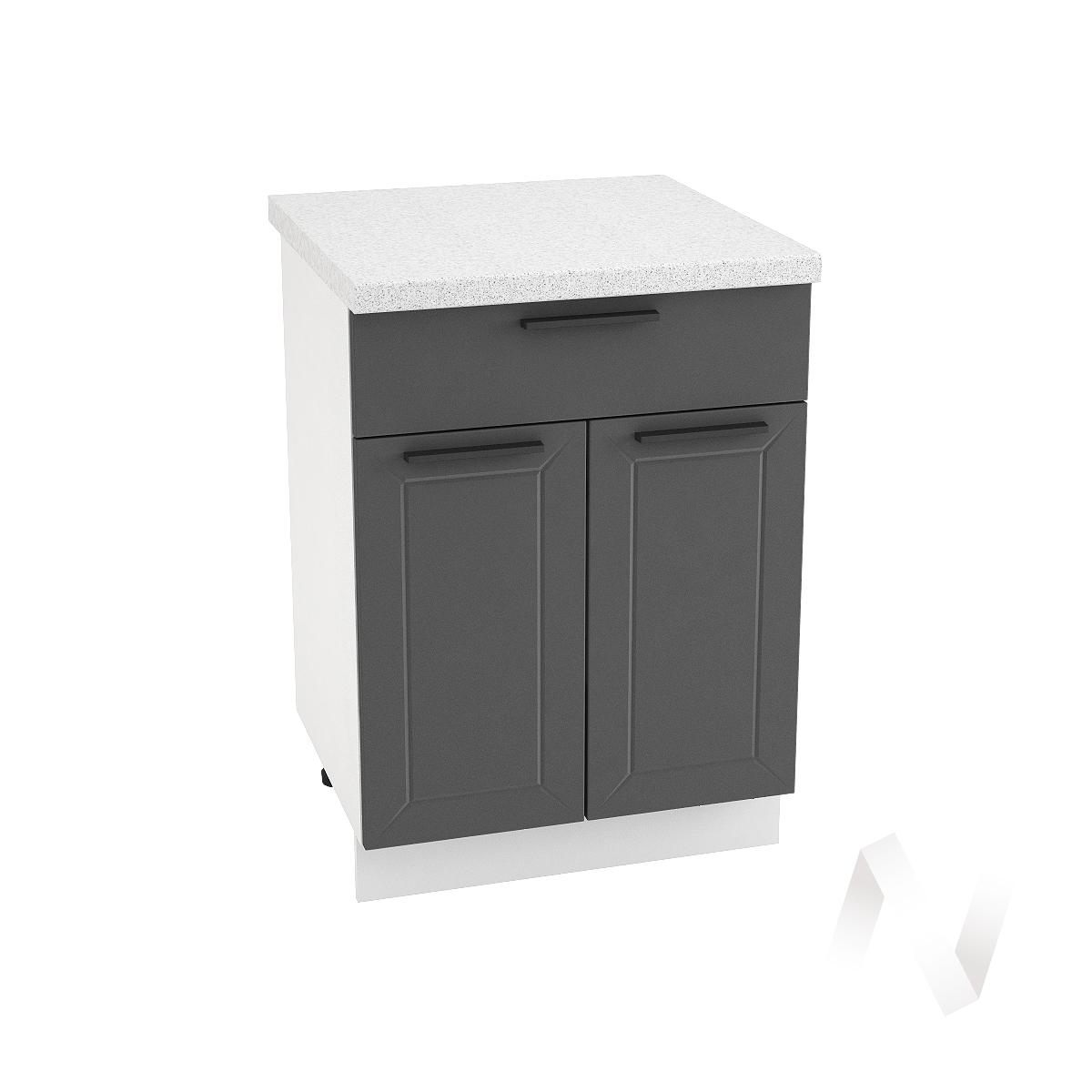 "Кухня ""Глетчер"": Шкаф нижний с ящиком 600, ШН1Я 600 М (Маренго силк/корпус белый)"