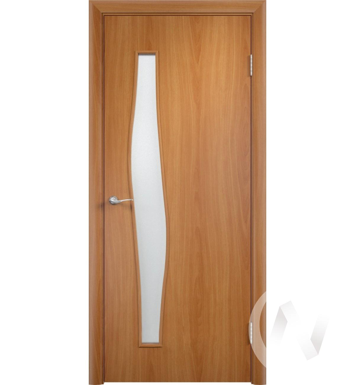 """Дверь ламинированная Тип """"Волна"""", 60, ост, миланский орех, стекло матовое"""